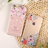 苹果6手机壳韩国小清新6splus防摔软壳iPhone6s全包边手机套繁花