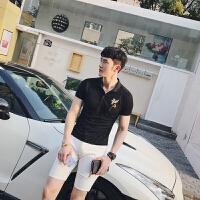 男�b 英�� POLO衫短袖 翻�I�C花修身T恤 透�庑∏逦�POLO 薄