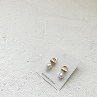 天然珍珠耳环女 气质韩国个性百搭精致短款小耳坠925银耳饰耳钉