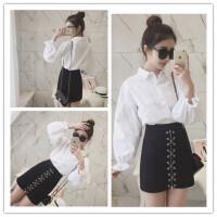 夏季新款 韩国泡泡袖长袖百搭宽松显瘦棉质白色衬衫上衣打底衣女 白色 均码