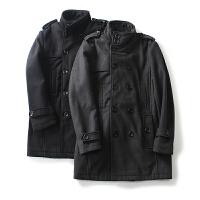 男装冬装新 简约风纯色双排扣外套长袖毛呢大衣男中长