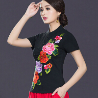 中国风女装上衣 夏装新款刺绣民族风立领盘扣短袖棉t恤女修身