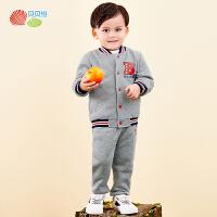 贝贝怡2020年秋冬装男孩儿童休闲运动韩版棒球服长袖外套套装