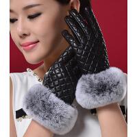 冬季獭兔毛时尚韩版保棉加厚羊皮手套女式开真皮手套