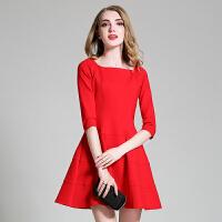 2016新款秋冬新娘回门装结婚礼服显瘦修身中长款打底红色连衣裙女
