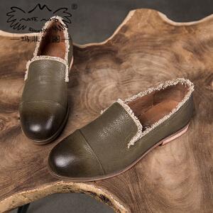 玛菲玛图低跟单鞋女秋季新款浅口圆头流苏平底英伦复古舒适真皮乐福鞋3988-1