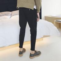 男士休闲裤2018春季韩版运动裤修身小脚裤潮流百搭黑色束脚裤子男