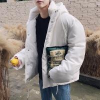男士棉衣外套冬季新韩版学生连帽衣服中长面包服宽松帅气