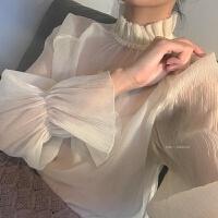 蕾丝打底衫女长袖春秋内搭仙气质上衣花边领仙仙女喇叭袖雪纺衫 杏色