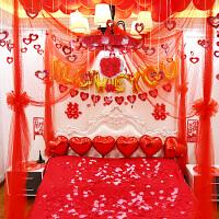 婚房布置婚礼新房创意卧室婚庆用品结婚装饰拉花纱幔花球套餐