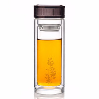 艺福堂 玻璃杯 双层水晶杯茶杯隔热透明带盖创意过滤商务杯子300ML