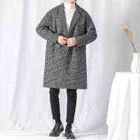 冬季加棉加厚格子风衣男士韩版中长款青年宽松双排扣呢子大衣外套