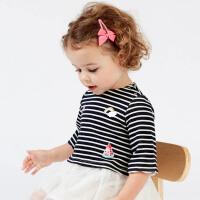 davebella戴维贝拉春季新款女童连衣裙宝宝藏青条纹连衣裙DBZ7597