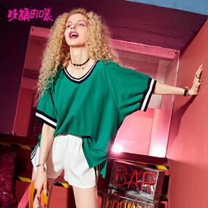 妖精的口袋巨袖t恤女2018新款复古五分袖chic撞色t恤女