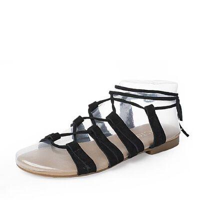 BASTO/百思图2017新款夏季羊绒皮罗马绑带平跟女凉鞋TCK10BL7
