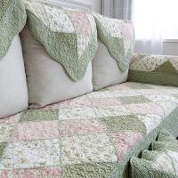 粉色全棉沙发垫布艺纯棉田园生活三人皮木靠背巾套罩四季通用防滑