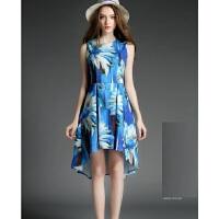 年夏季新款女装明星同款雪纺印花无袖连衣裙气质修身鱼尾裙