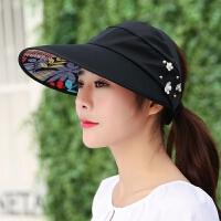 遮阳帽女夏天韩版户外帽子可折叠骑车夏季太阳帽凉帽 可调节