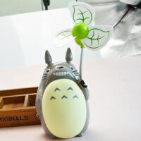 迷你可爱卡通电扇静音充电家用学习学生台灯夜灯小型USB时尚潮流风扇