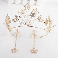 韩式结婚手工饰品婚纱礼服配饰发饰新娘头饰耳环两件套装