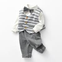 【开学季1件3折:68元】预售罗町2020春装婴儿服装马甲上衣领结三件套装儿童满月周岁礼服三件套潮服