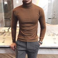新款潮领毛衣纯色休闲小清新打底衫英伦紧身弹力针织衫衣套头男装