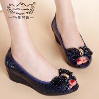 玛菲玛图女鞋真皮坡跟蝴蝶结中跟时尚单鞋工作鞋3828A-44秋季新品