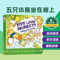 顺丰发货 英文原版 Five Little Monkeys Sitting in a Tree 五只小猴 纸板书 廖彩