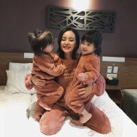 冬季儿童北极绒连体家居服长袖亲子装一家三口母女睡衣套装