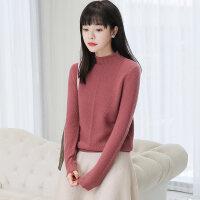 年秋冬羊绒衫女士半高领毛衣线衣针织打底衫短款韩版