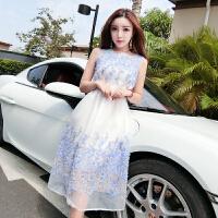 2018夏装新品 时尚韩版甜美气质圆领后拉链立体花朵雪纺连衣裙