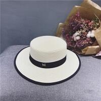 草帽女遮阳帽标平顶优雅黑色包边礼帽女英伦拍海边度假遮阳帽子 可调节