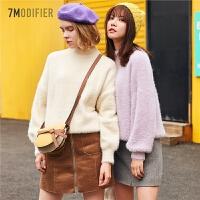 【3折到手价:105】Z纯色套头毛衣女冬季新款宽松打底上衣慵懒风长袖针织衫外套