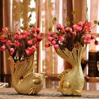 家里室内房间装饰品摆件花女生卧室创意摆设客厅欧式陶瓷工艺品鱼 金鱼一对+粉色玫瑰