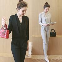 秋装新款套装女时尚潮韩版名媛气质显瘦长袖长裤连体裤大码两件套