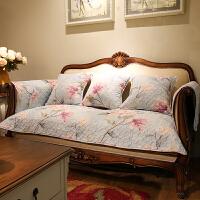 美式田园乡村四季花卉系组合布艺沙发垫沙发巾斜纹棉坐垫