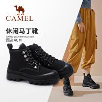 Camel/骆驼2019冬季新款女士休闲马丁靴百搭靴子潮流金属扣短靴女