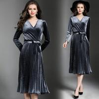秋装新款系带收腰百褶裹裙纯色修身气质丝绒连衣裙中长款礼服