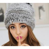 时尚帽子女潮  可爱包头帽冬天毛线护耳帽  冬季保暖兔毛皮草帽子