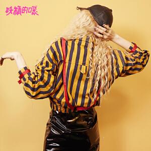 【尾品汇大促】妖精的口袋棒球服秋女秋装2018新款条纹纯棉通勤休闲短外套潮