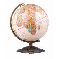 博目地球仪・艾伦:30cm中英文政区古典立体地球仪(美国国家地理杂志授权编制;根据美国专业测绘高程数据计算生成全球立体地形;底座有展开世界地图)