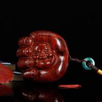 小叶紫檀掌中宝弥勒佛手把玩件 红木工艺品挂件