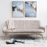 奇居良品 北欧简约风布艺沙发现代轻奢家具客厅沙发金属铁艺沙发