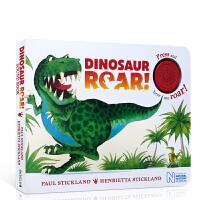 英文原版 Dinosaur Roar! 恐龙嗷呜吼 儿童启蒙认知纸板按键发声书 0-3-6岁男生喜爱 不易撕坏