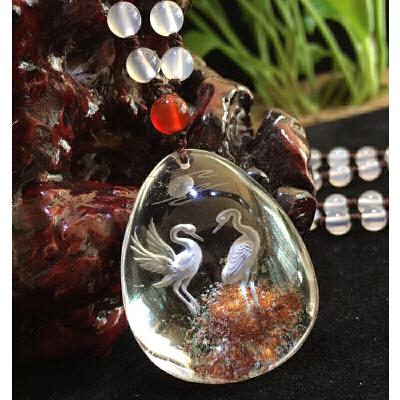 天然水晶项链彩色幽灵矿物内雕仙鹤延年挂坠【2-3T243】