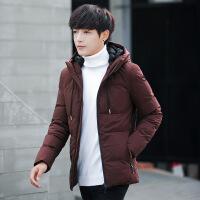 反季羽绒服男士短款连帽外套冬季加厚新款韩版修身学生帅气男装潮