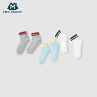 迷你巴拉巴拉男女幼童袜子短款彩条袜三双装透气吸汗夏季新款宝宝袜子