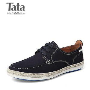 Tata/他她春季专柜同款磨砂牛皮男休闲鞋7U150AM6 专柜1