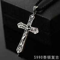 基督教耶稣十字架吊坠 男士990银项链霸气复古女长款项坠首饰品