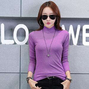 2017秋装新款韩版女装半高领棉质t��打底衫纯色长袖t恤女潮